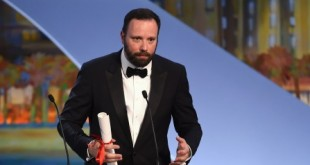 Greek director Yorgos Lanthimos talks on stage after being awarded with the Jury prize during the closing ceremony of the 68th Cannes Film Festival in Cannes, southeastern France, on May 24, 2015.   AFP PHOTO / ANNE-CHRISTINE POUJOULAT        (Photo credit should read ANNE-CHRISTINE POUJOULAT/AFP/Getty Images)
